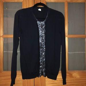 JCrew cardigan-style sweater with sequin underlay
